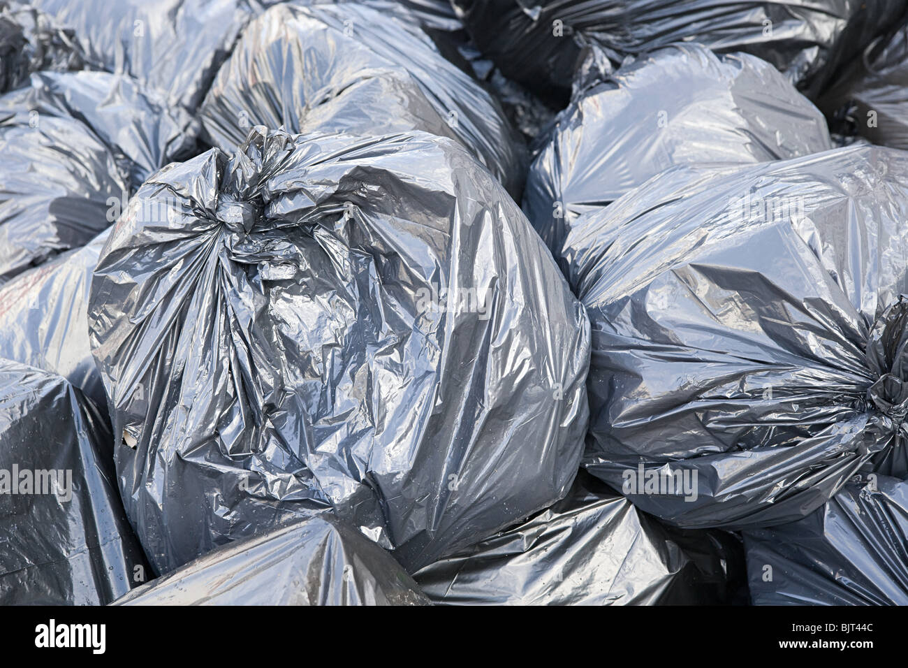Stack of rubbish bags - Stock Image