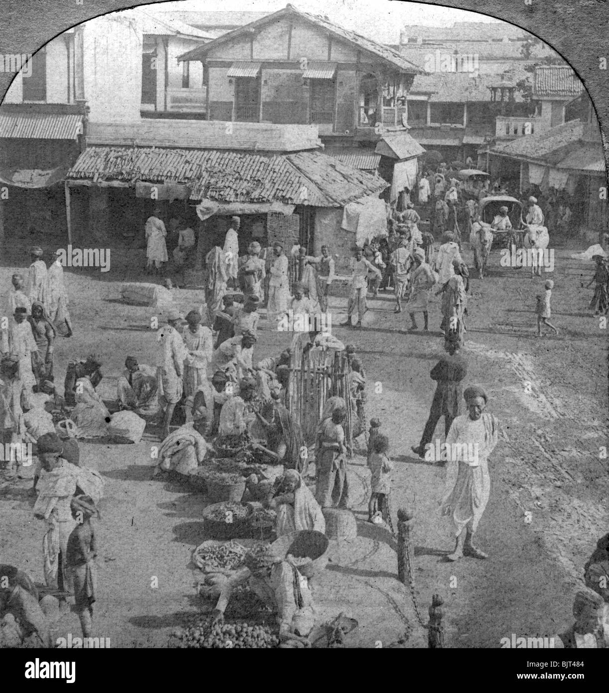 A market in Ahmedabad, India, 1902. Stereoscopic slide. Detail. - Stock Image