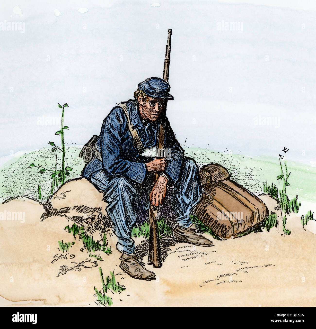 Weary Union infantryman resting by the wayside, US Civil War. Hand-colored woodcut - Stock Image