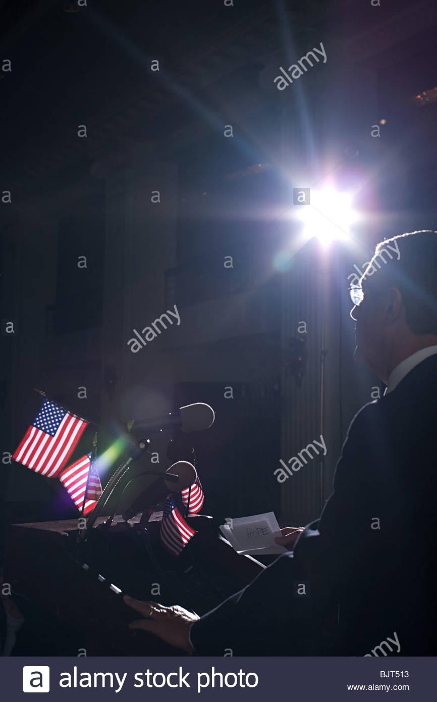 A politician giving a speech - Stock Image