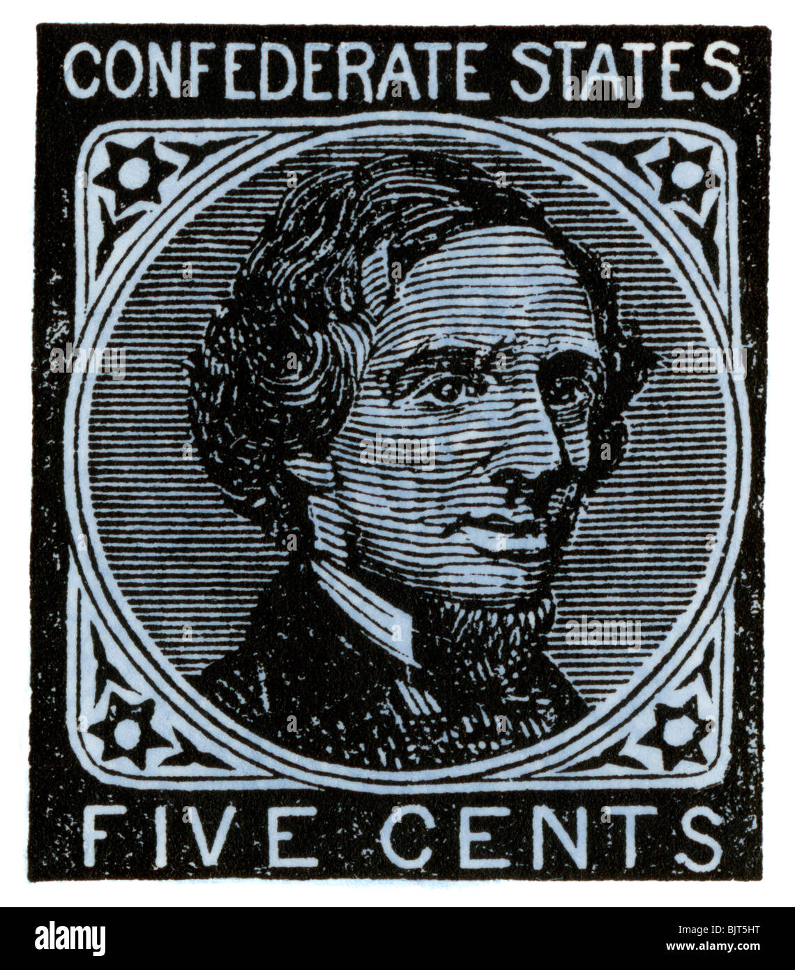 Confederate postage stamp bearing portrait of Jefferson Davis. Hand-colored woodcut - Stock Image
