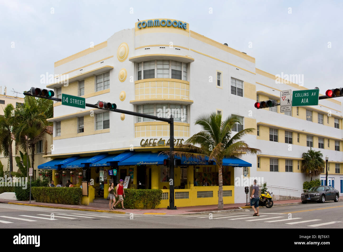 The 1936 Henry Hohauser designed art deco Commodore Hotel on Collins and 14th, South Beach, Miami, Florida USA. Stock Photo