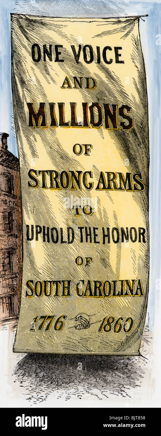 Street banner in Charleston, South Carolina, during the secession convention, 1860. Hand-colored woodcut - Stock Image