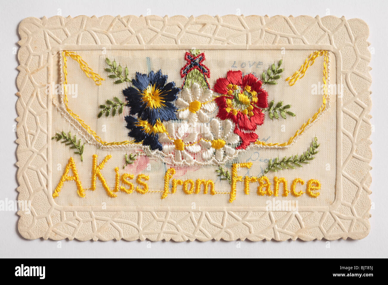 Silk Embroidered Card Envelope, from the 1st World War. - Stock Image