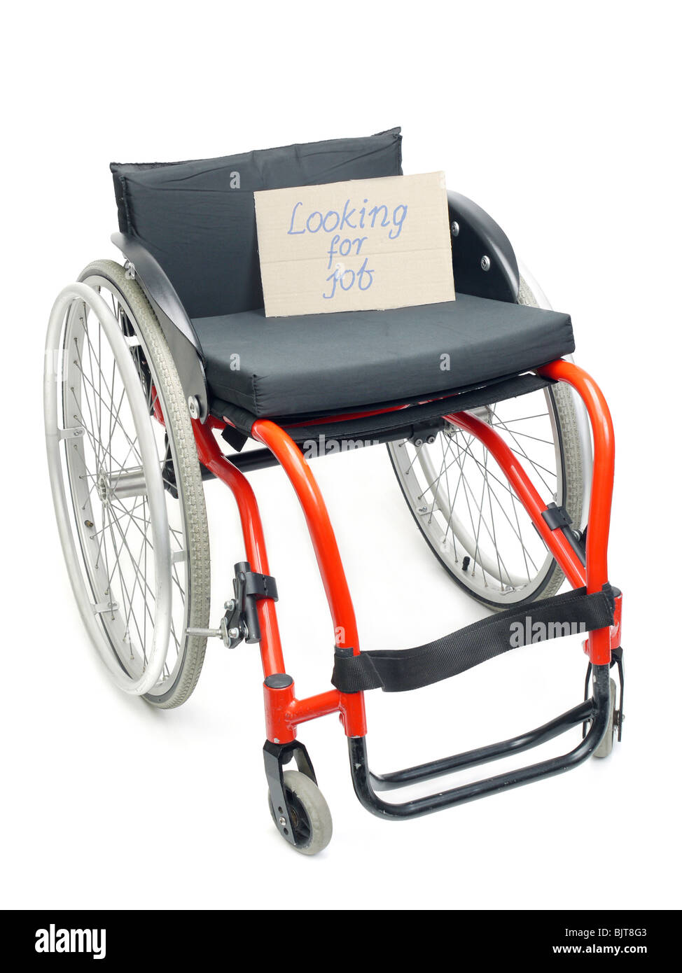 Wheelchair with cardboard note Looking for Job over white - concept of handicapped unemployment problem - Stock Image