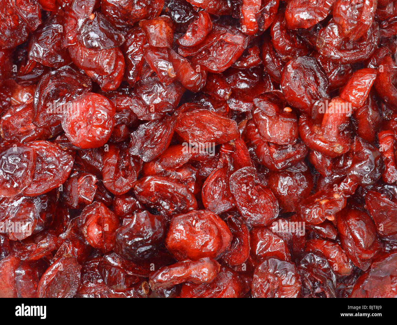 Dried sliced cranberry shot from above - Stock Image