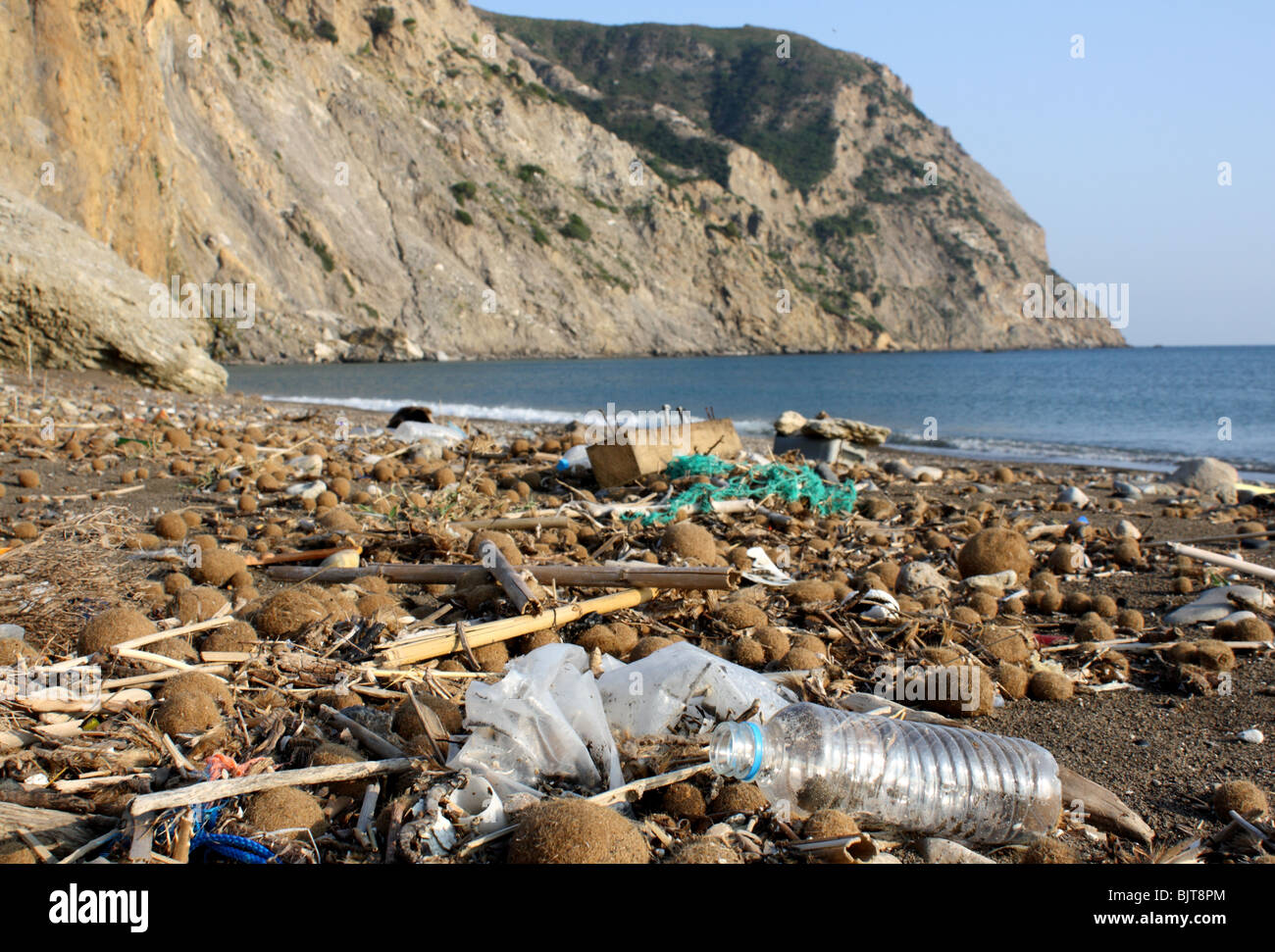 "Dirty beach, Zante, ""National Marine Park Kalamaki"" Greece, 2009 Stock Photo"