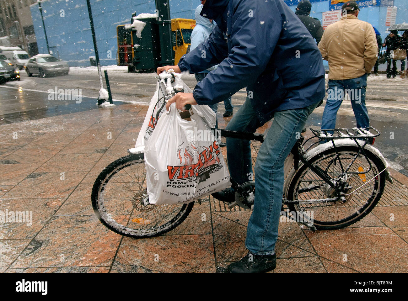 Food Delivery Man On Bicycle New York City Manhattan Stock Photo