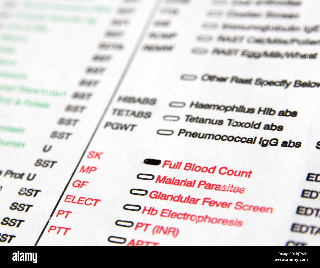 Form from general practitioner for patient on full count blood test in laboratory, Great Britain 2010 - Stock Image