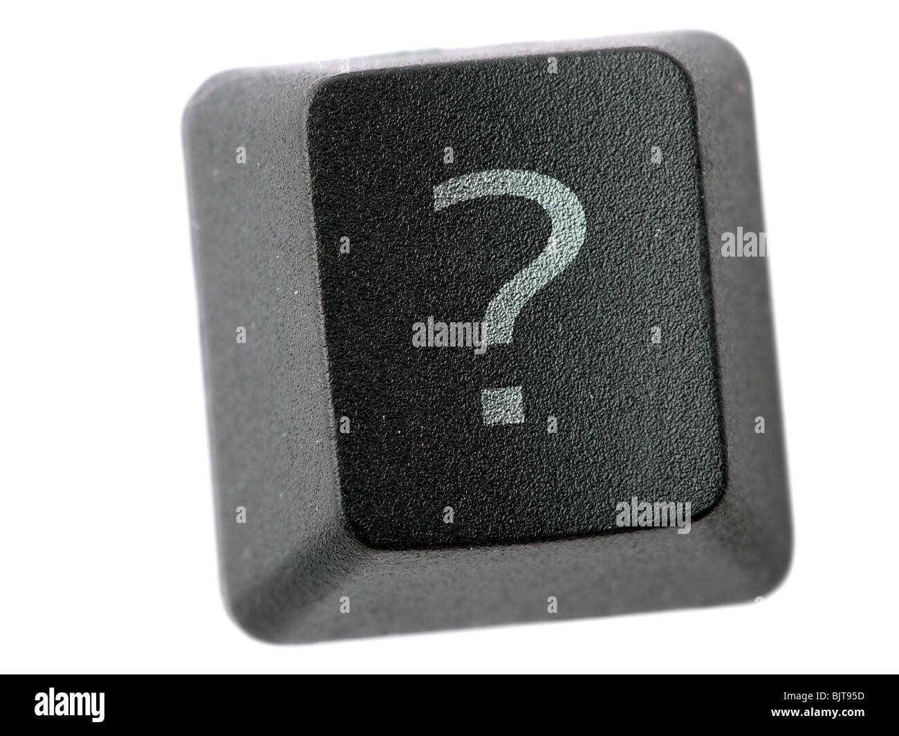 Black keyboard key with Question Mark letter isolated on white Stock Photo