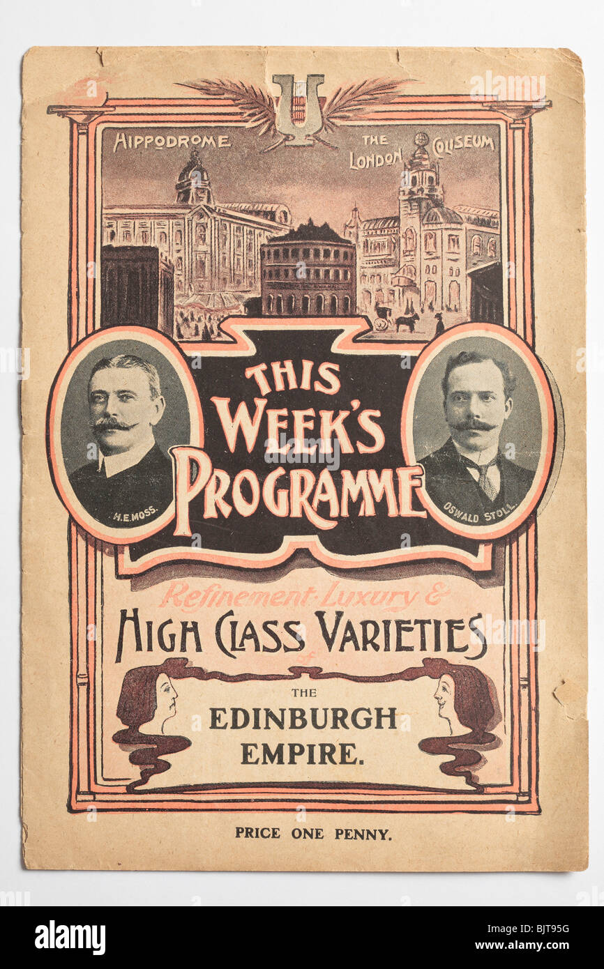 Theatre Programme for the Edinburgh Empire Old Time Music Hall - Stock Image