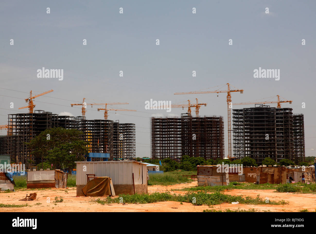 The Chinese Invasion helping in constructing housing projects on the outskirts of Luanda. Angola. Africa © - Stock Image