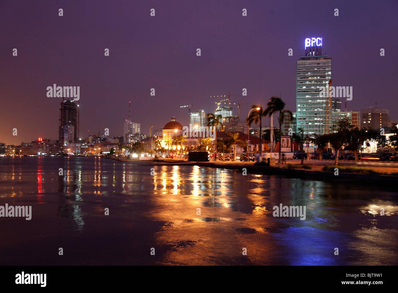 Angola's capital Luanda's skyline at night. Luanda Province, Angola. Africa. - Stock Image