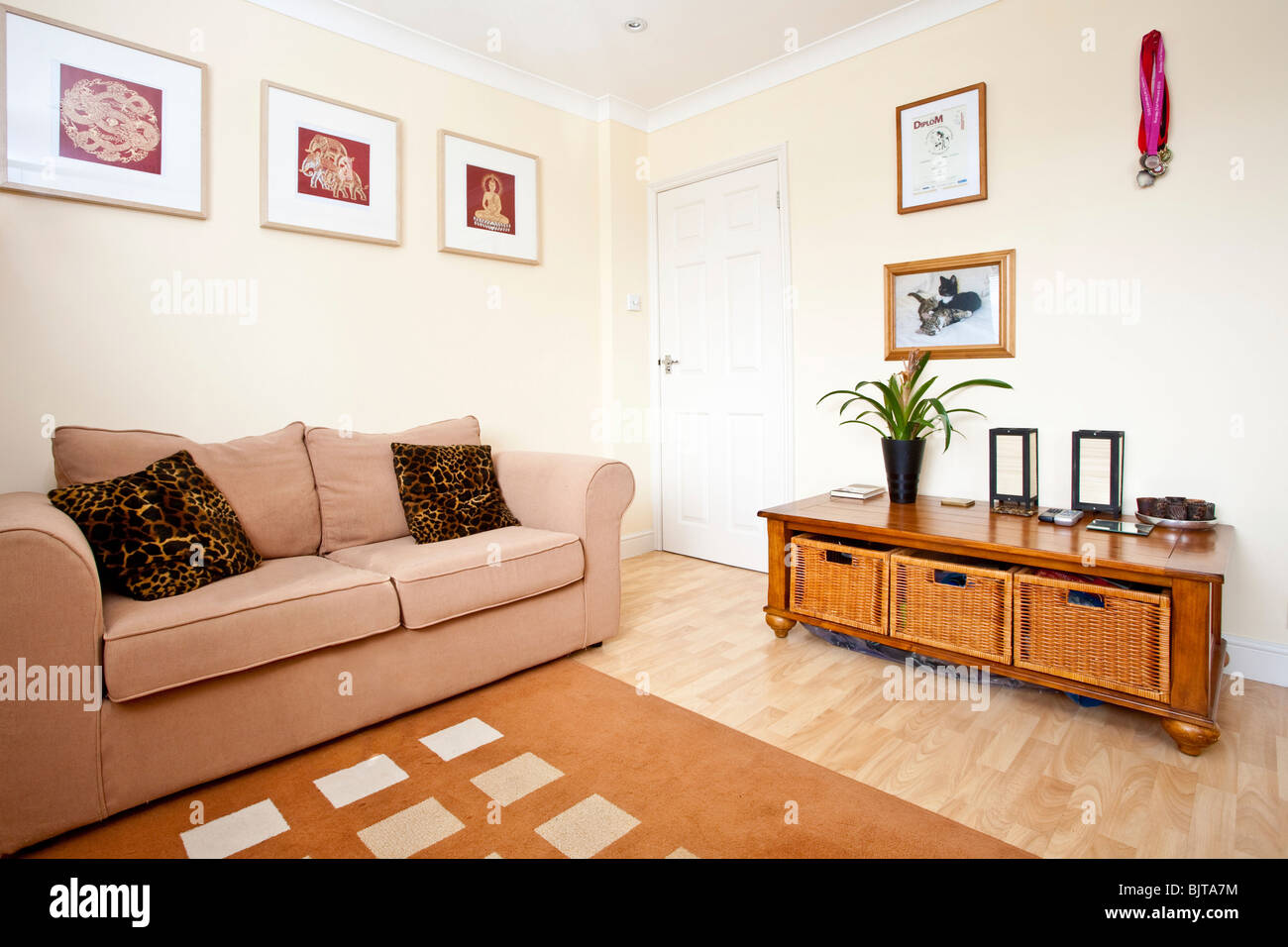 Bright and airy living room. Fetcham, Leatherhead, Surrey, England, UK - Stock Image