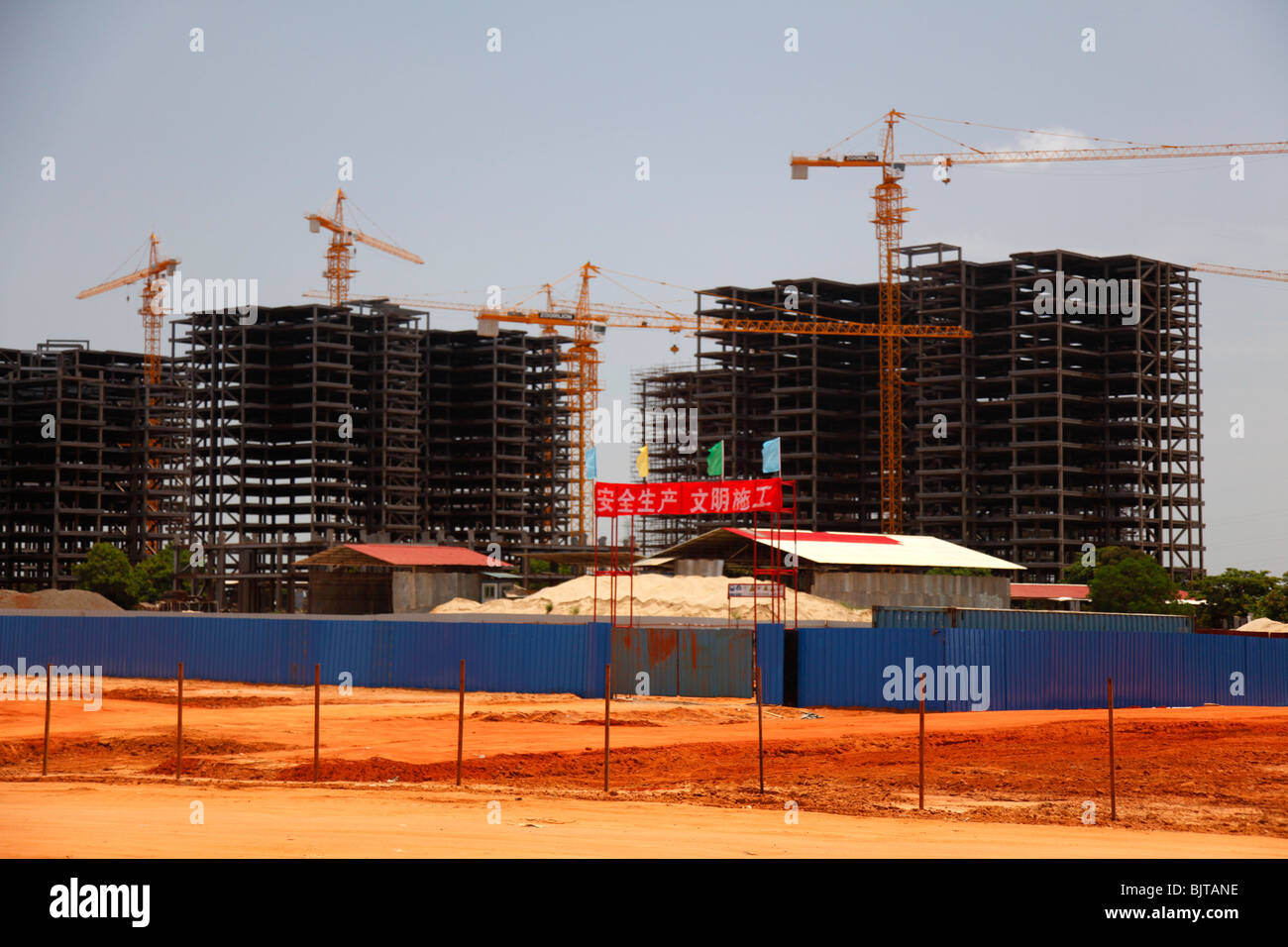 The Chinese Invasion helping in constructing housing projects on the outskirts of Luanda. Angola. Africa. © - Stock Image