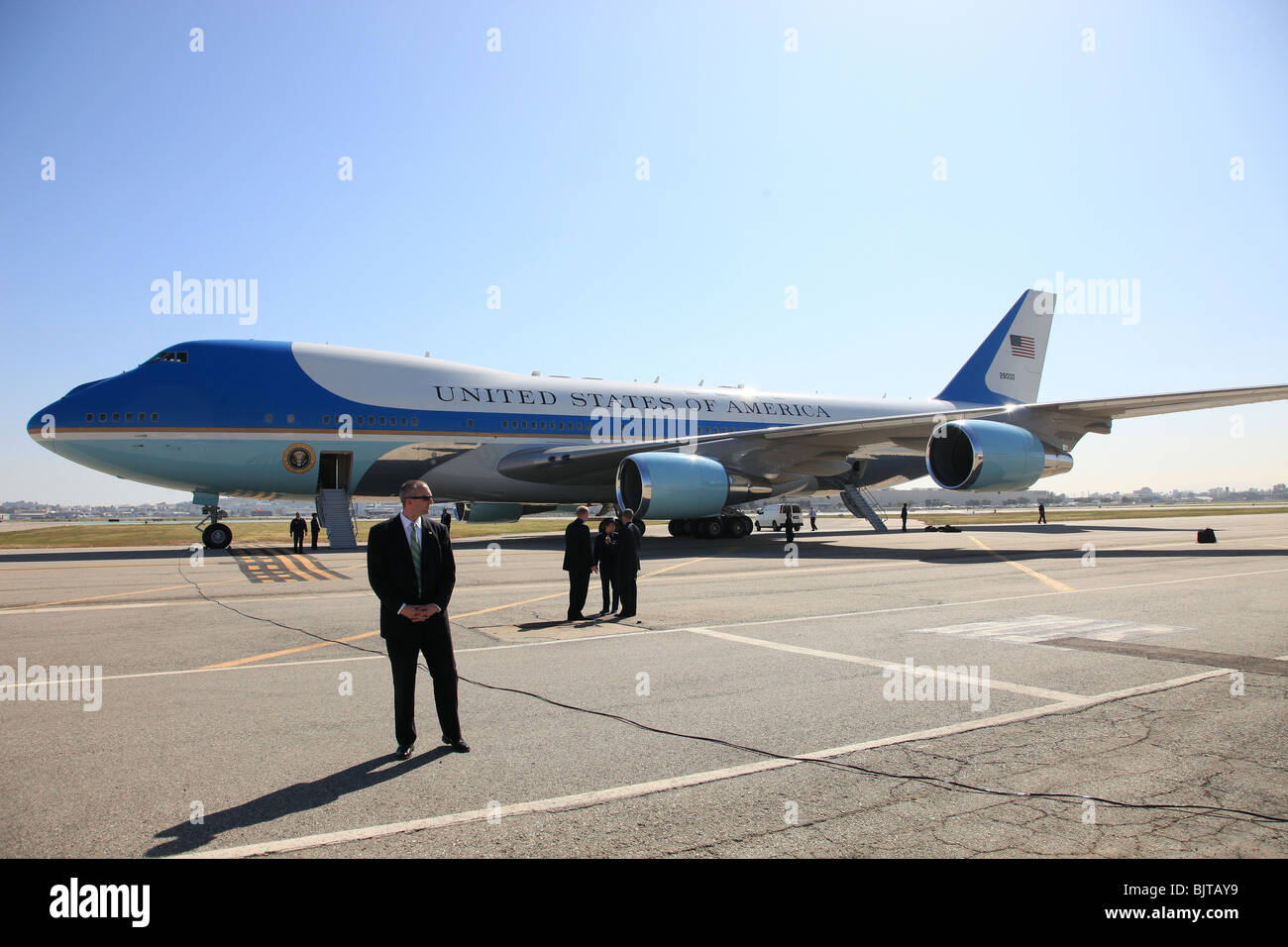 AIRFORCE ONE PRESIDENT BARACK OBAMA LANDS IN CALIFORNIA LONG BEACH CALIFORNIA CA USA 18 March 2009 - Stock Image