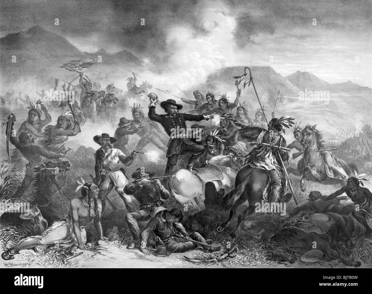 """Vintage black and white lithograph print c1878 entitled """"General Custer's Death Struggle - The Battle of the Little Stock Photo"""
