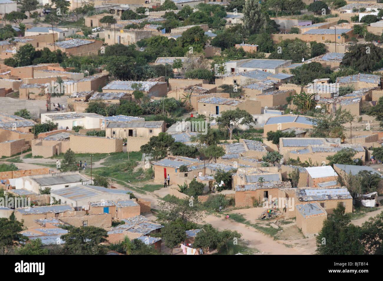 Views of barrios in Lubango city. Huila Province, Angola. Africa. - Stock Image