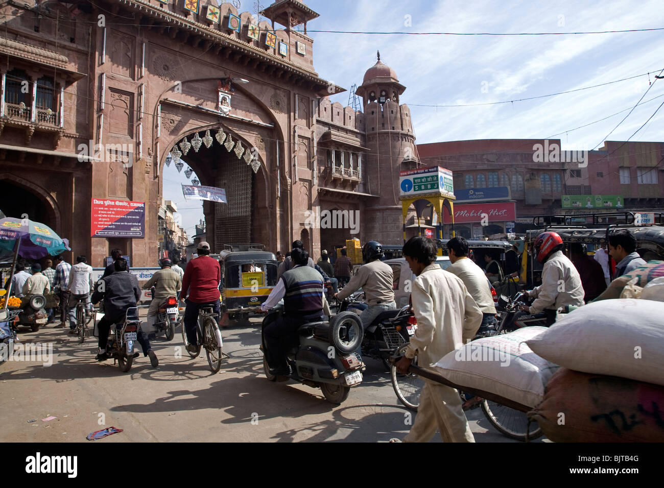 Street traffic at Kote Gate. Bikaner. Rajasthan. India Stock Photo