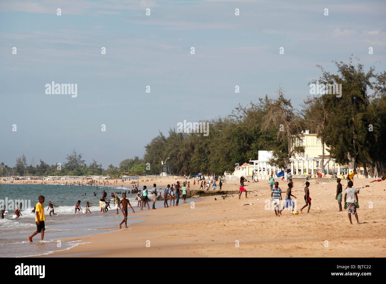 People Play And Walk Along The Beach Praia Morena Benguela