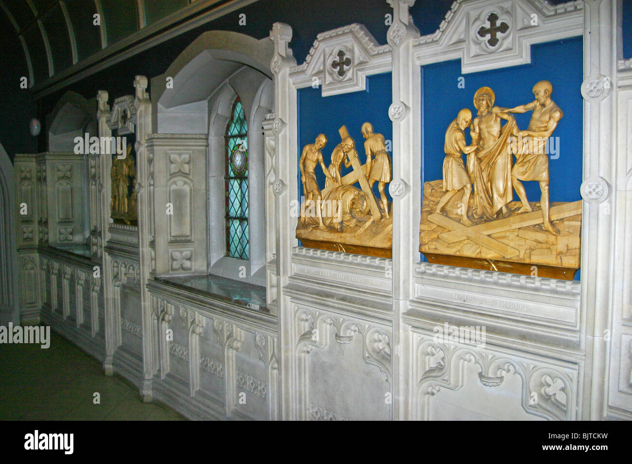 Panels at Ushaw College St Cuthbert's Roman Catholic seminary Durham religious painting wall frieze - Stock Image
