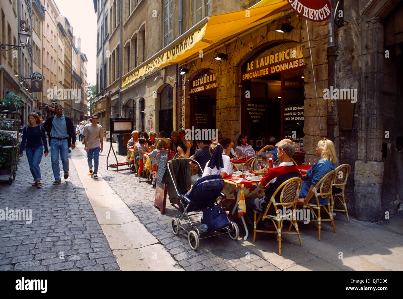 Lyon France 0ld Town Restaurant - Stock Image