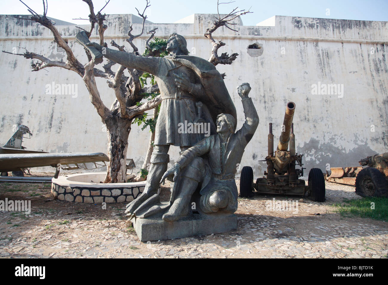 Monuments and Statues outside the Fortaleza de Sao Miguel. Luanda. Angola. Africa. - Stock Image