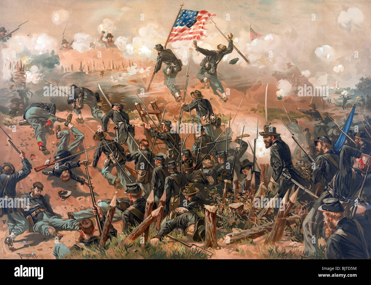 Colour print c1888 depicting the Siege of Vicksburg (May 25 - July 4 1863) during the US Civil War. - Stock Image
