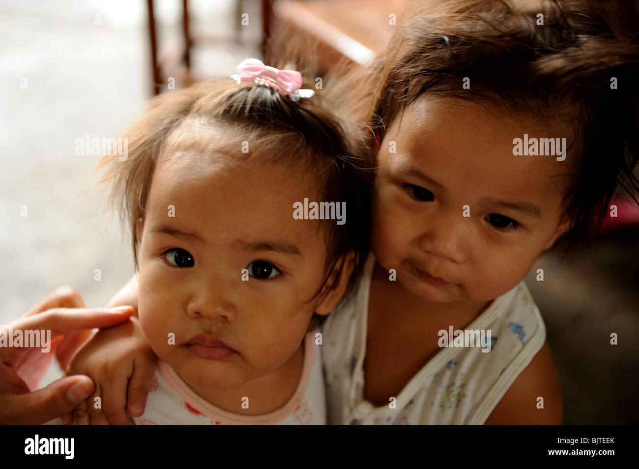 two young thai girls , bangkok , thailand Stock Photo
