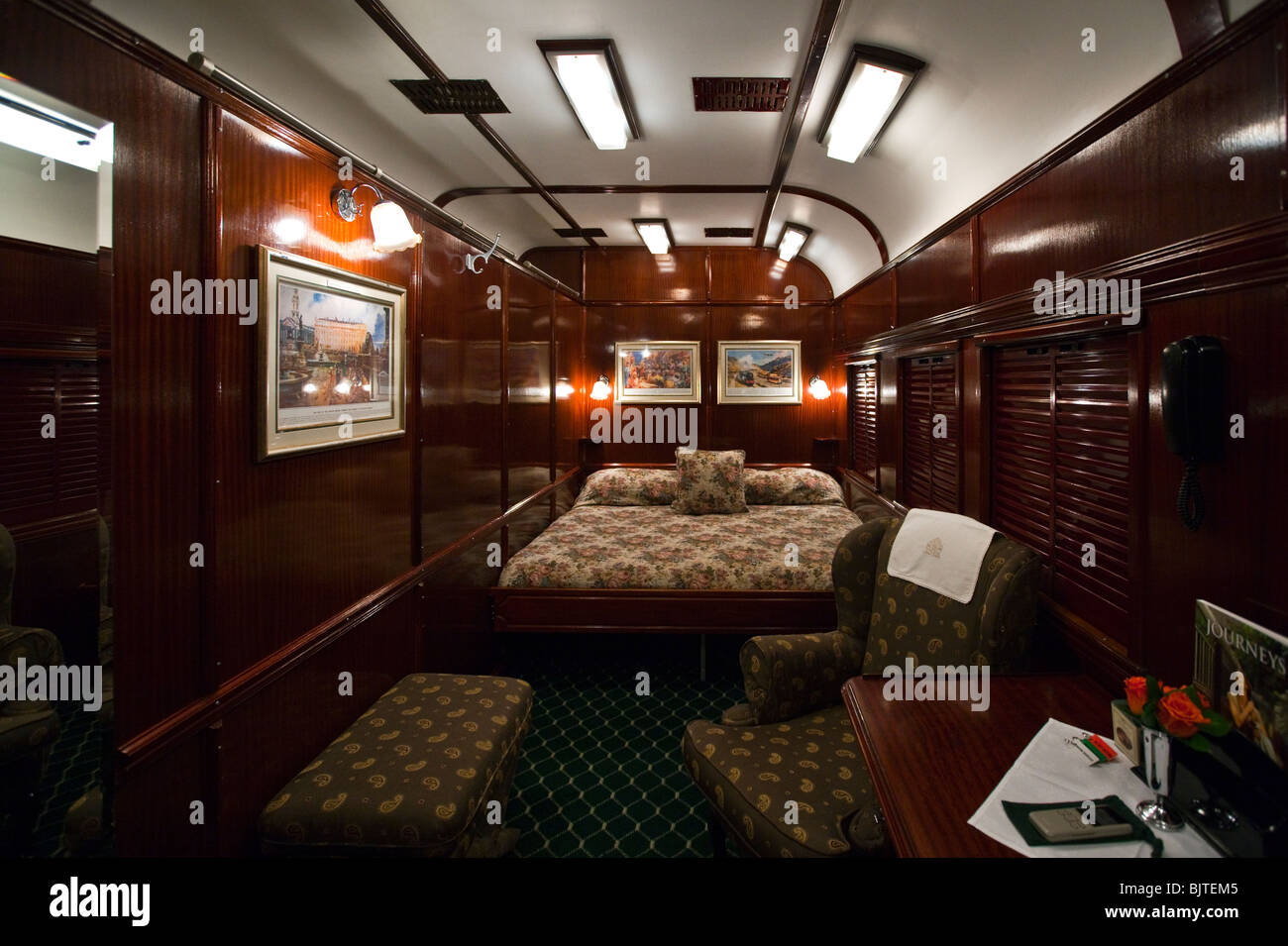 South Africa, a cabin of the Rovos Rail luxury train travelling between Cape Town and Pretoria - Stock Image