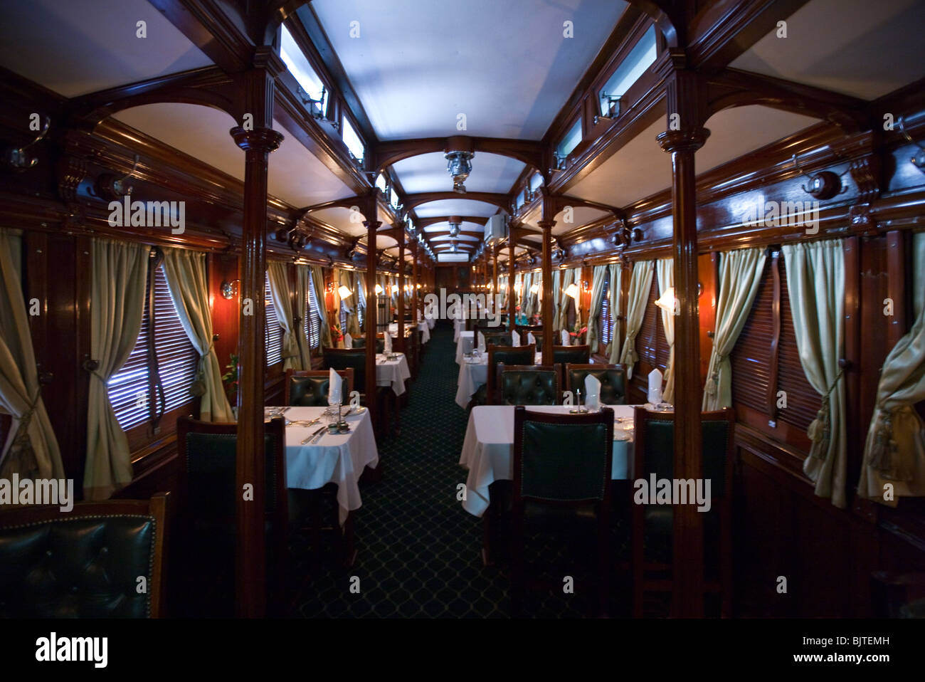 South Africa, the restaurant of the Rovos Rail luxury train travelling between Cape Town and Pretoria - Stock Image