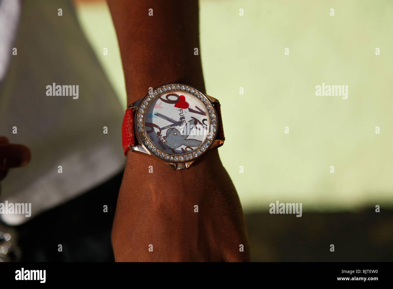 Diamante Play boy watch. Angola, Africa. © Zute Lightfoot - Stock Image