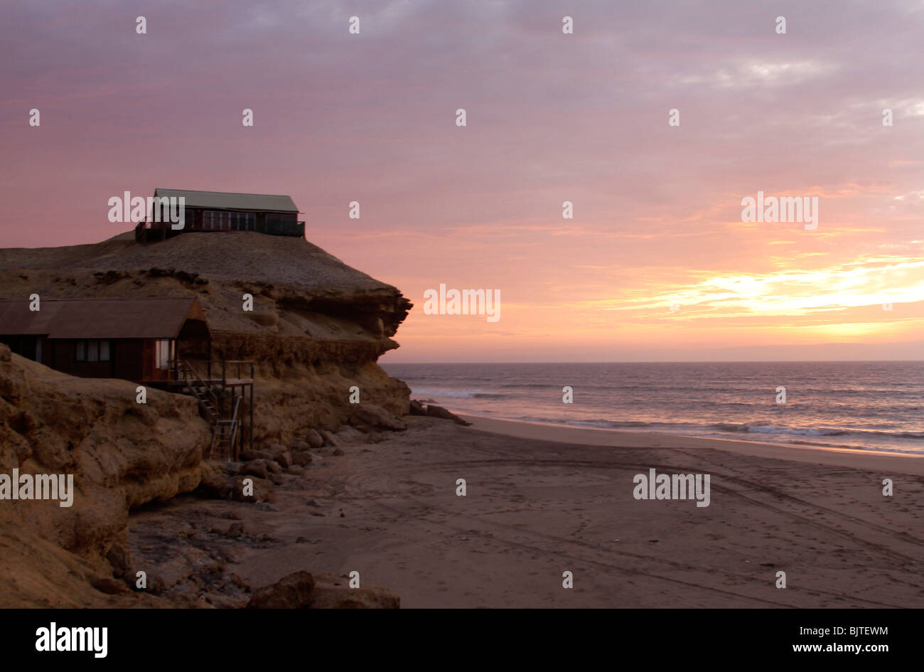 Flamingo Lodge, a fishing lodge in the  Reserva De Namibe, Nr Iona National Park, Namibe Province, Southern Angola. Stock Photo