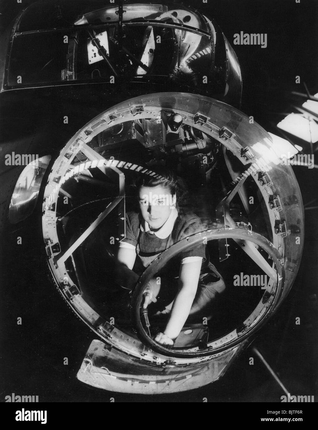 A woman working on a Lancaster bomber, Second World War, 1940s. - Stock Image