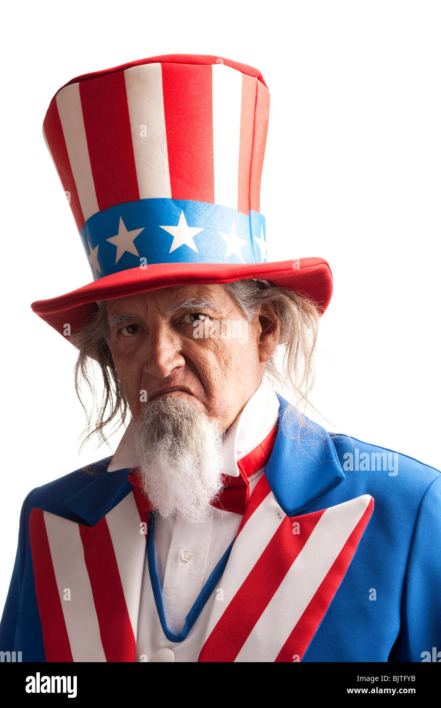 Portrait of man in Uncle Sam's costume, studio shot - Stock Image