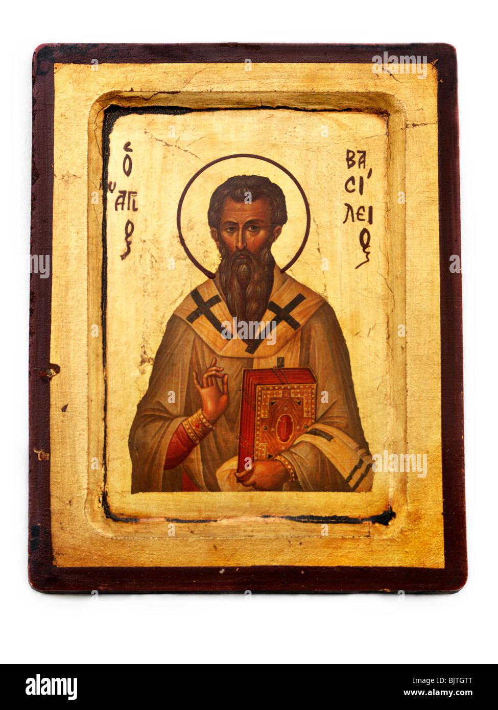 Greek Orthodox Byzantine Icon of St Basil - Stock Image