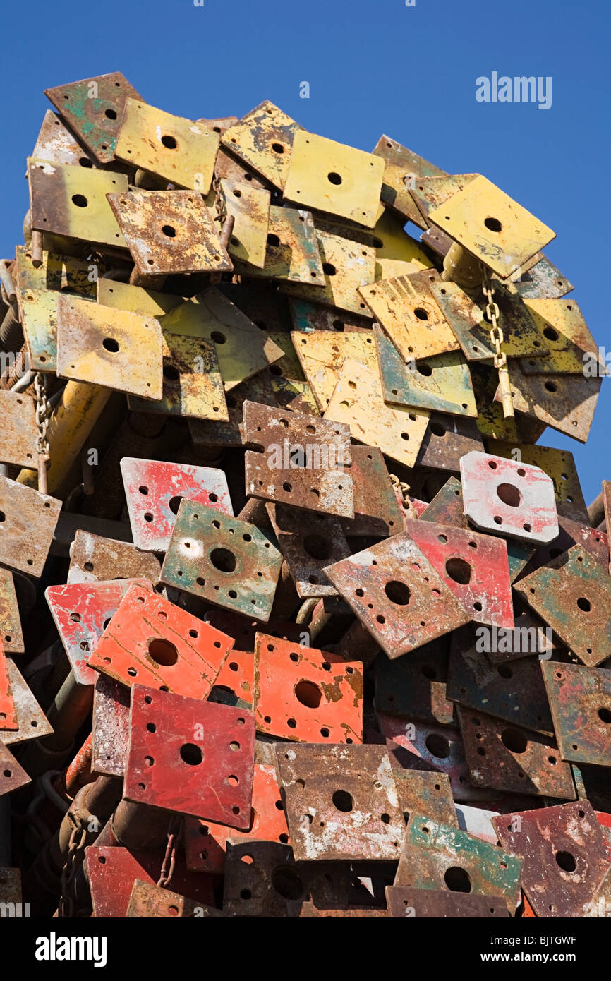 Stack of metal poles - Stock Image