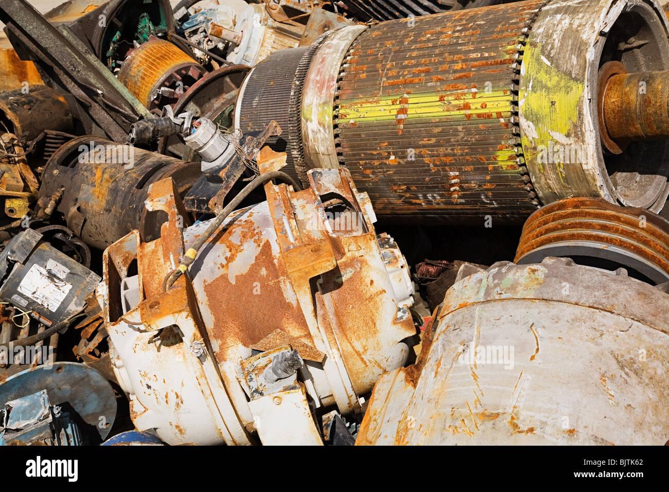 Motors at scrap yard - Stock Image