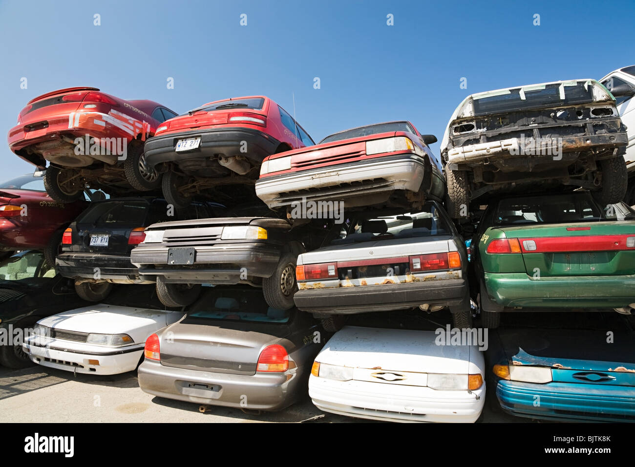 Cars at scrap yard Stock Photo