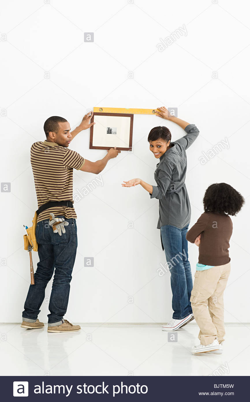 Family hanging picture frame - Stock Image