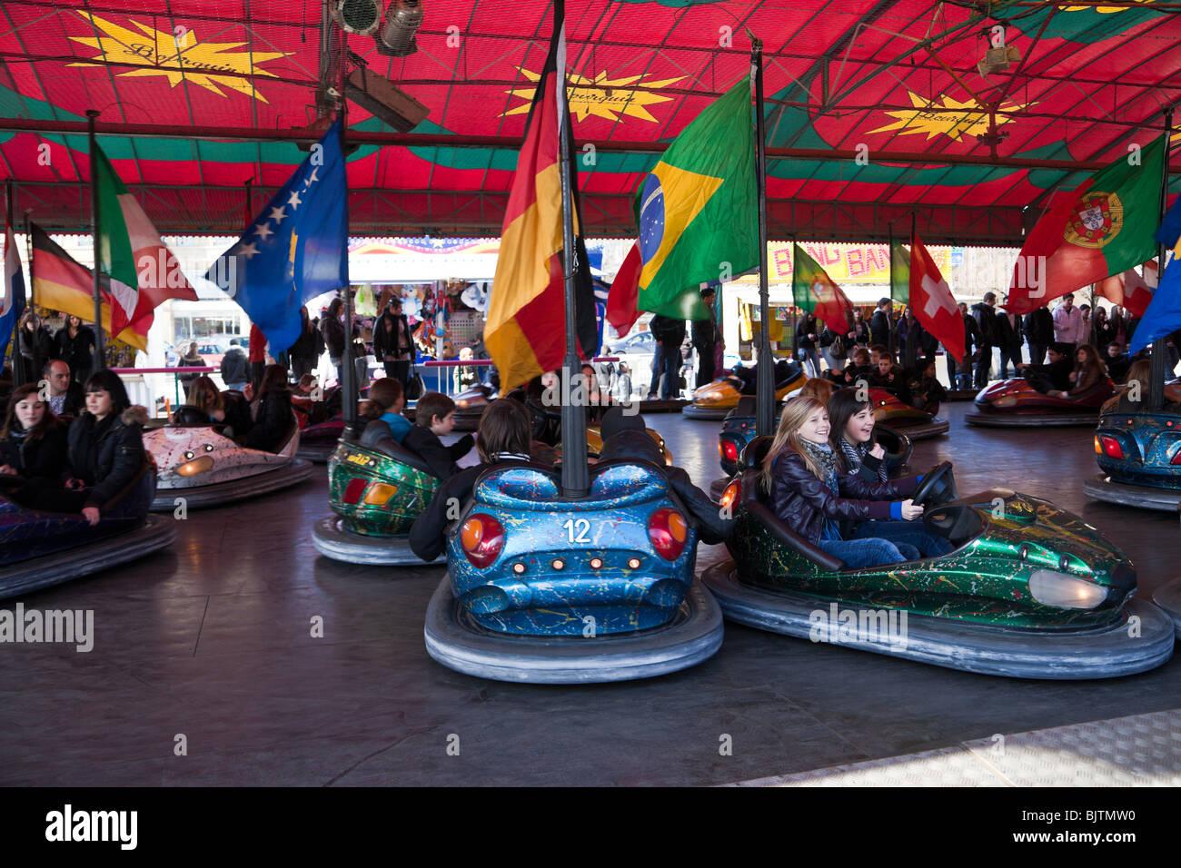 Teenagers Having Fun On A Bumper Car Ride, Dodgem Cars