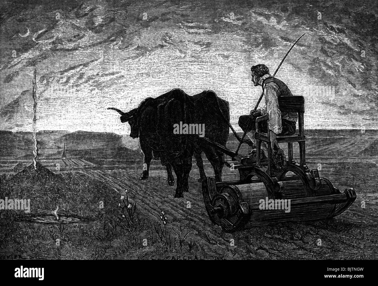 agriculture, ploughing, 'In the evening', wood engraving by Trichon after drawing by C. Marchal, 1872, Additional - Stock Image