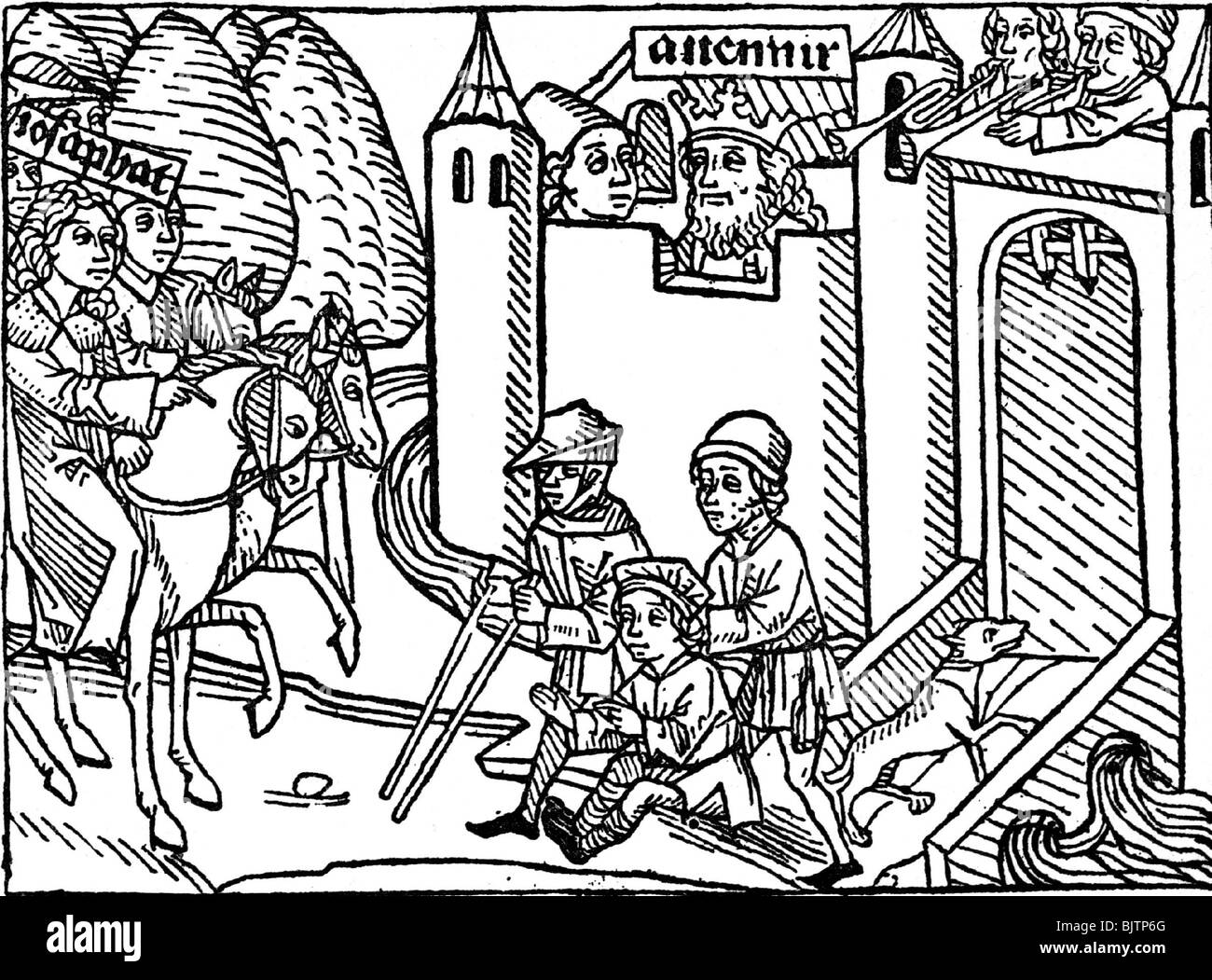 people, poverty, misery, Middle Ages, beggars sitting on the wayside, woodcut from 'Chronicle of Josaphat and - Stock Image