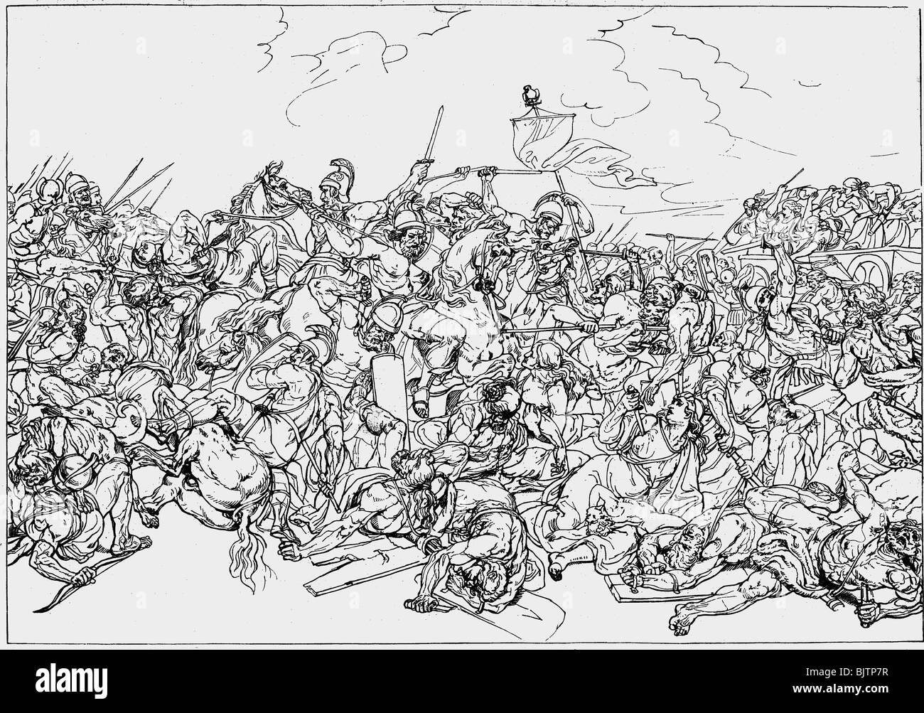 events, Cimbrian War 113 - 101 BC, Battle of Vercellae, 30.7.101 BC, wood engraving after drawing by Karl Ens, 19th - Stock Image
