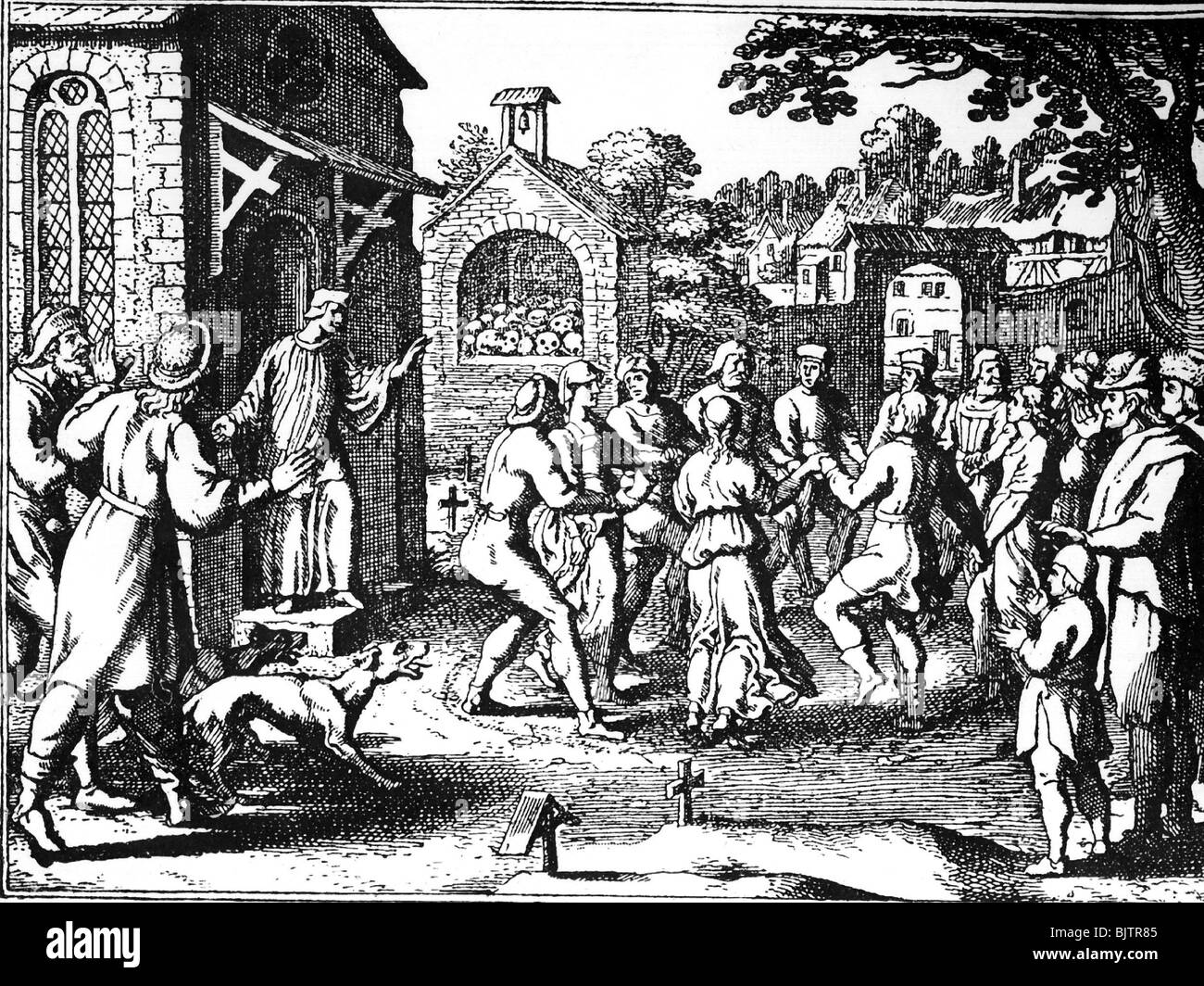 medicine, pandemic disease, plague, penitents dancing on a graveyard to prevent the plague, copper engraving, circa Stock Photo