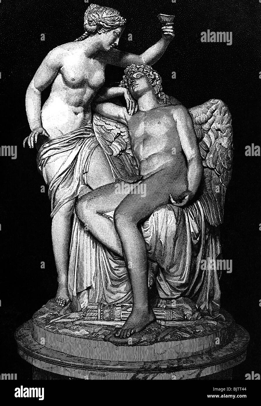 Cupid, Greek god of love, half length, with Psyche, wood