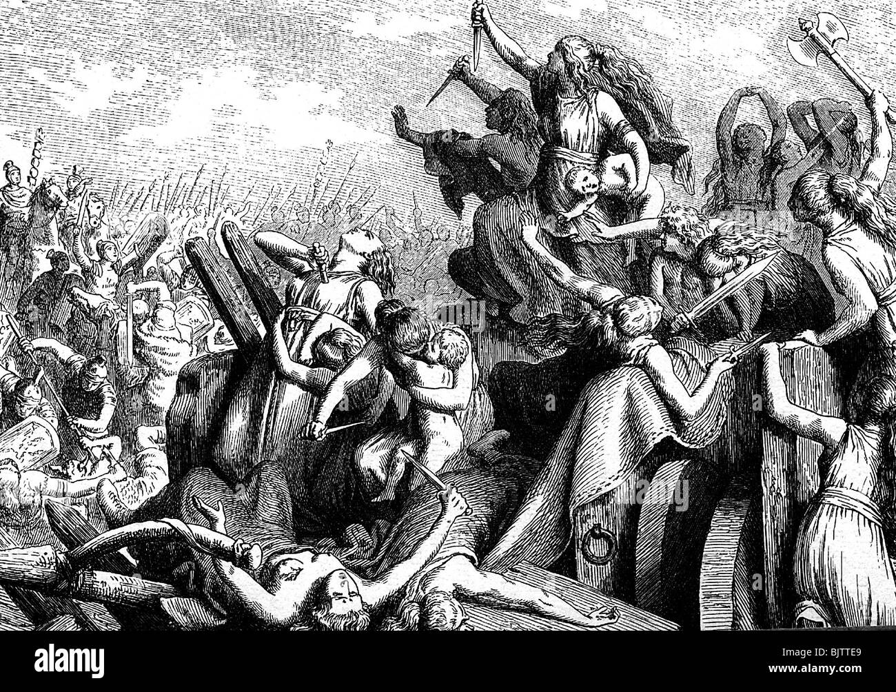 events, Cimbrian War 113 - 101 BC, Battle of Vercellae, 30.7.101 BC, Cimbrian women defending the carriages, wood - Stock Image