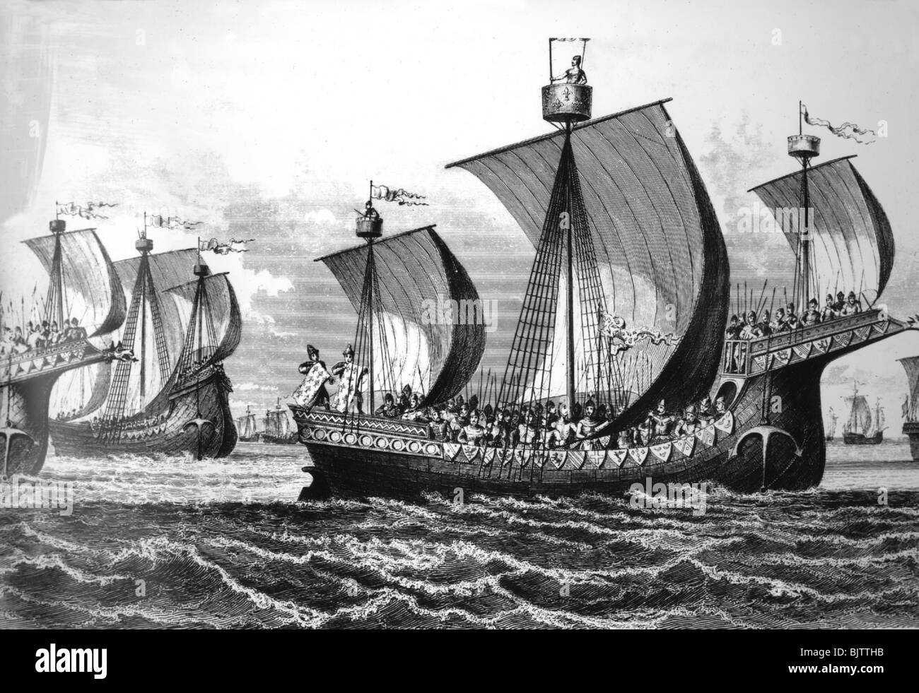 transport / transportation, navigation, ships, ship of the Norsemans, historic, historical, medieval times, Middle Stock Photo