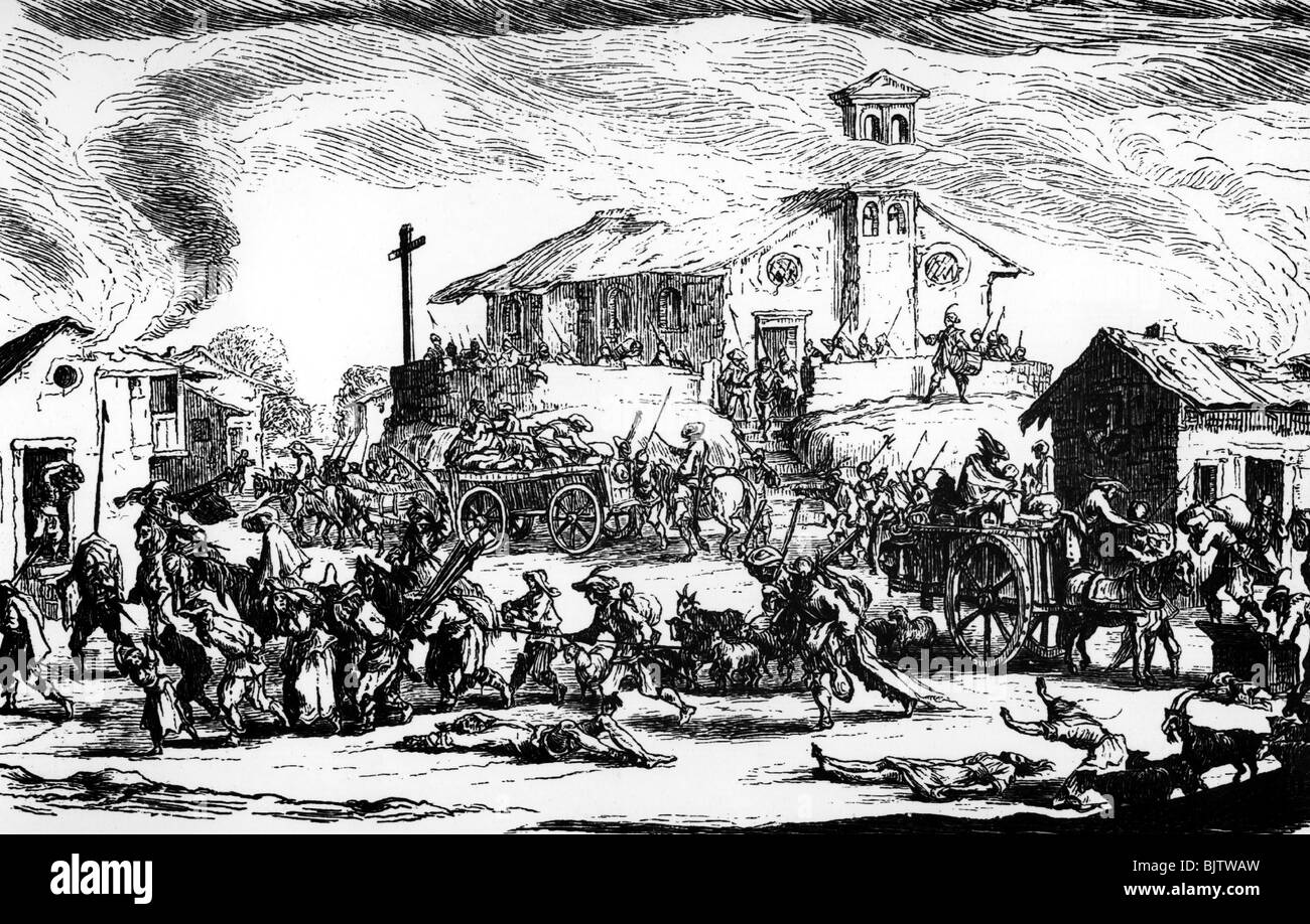 events, Thirty Years' War 1618 - 1648, cruelties, soldiers pillaging a village, woodcut from the series 'Les - Stock Image