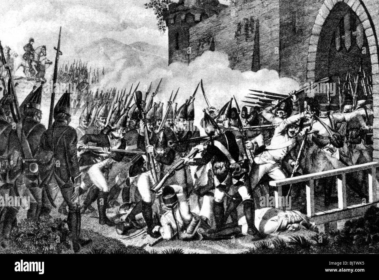 events, Seven Years War 1756 - 1763, Battle of Lobositz, 1.10.1756,  Prussian grenadiers storming the city gate, wood engraving, 19th century,  military, ...